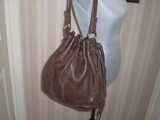 Fossil Vintage  Leather Drawstring Bucket Hobo  Bag (gold tone)