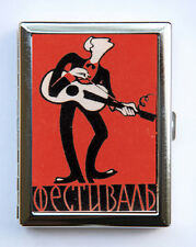 Russian Guitar Player Cigarette Case Wallet Business Card Holder