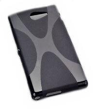 X-Rubber Silikon TPU Handy Cover Schwarz + Displayschutzfolie für Sony Xperia M2