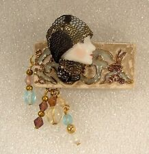 LADY HEAD Woman FACE Porcelain-Look Resin Brooch Pin Collage Romantic Glitz Glam