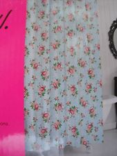 BETSEY JOHNSON SHOWER CURTAIN BLUE PINK ROSES ADORABLE NEW