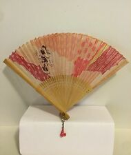 Vtg Folding Hand Held Fan Floral MINI MOUSE Pocket Mini FAN, Wood / Fabric