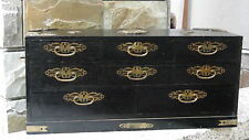 ANTIQUE 19c CHINESE 8 DRAWERS MAHOGANY COLLECTOR'S CABINET W/BRASS APPLICATIONSN
