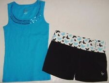 JUSTICE Girls size 12 CAMI BUTTERFLY YOGA SHORTS OUTFIT EUC NEW NWT