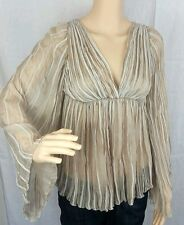 ALBERTA FERRETTI Made in Italy Nude Tan Sheer Taupe Blouse Top USA Size 2 Silk