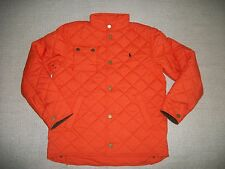 NWT, POLO RALPH LAUREN BOY'S QUILTED HAGAN BARN JACKET COAT  ORANGE- M 10-12