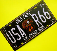 Tign sign nostalgia chapa escudo route 66 Mother Road Eagle us 66 EE. UU. 16 x 30 cm