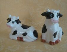 Black and White Holstein Cow and Bull Salt and Peppe Set