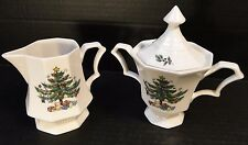 Nikko Christmastime Christmas Tree Creamer Sugar with Lid Set EXCELLENT!