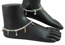 Pair of Silver Tone Designer Payal / Anklet Indian Bollywood; Length 11 inch