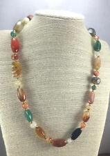 Vintage Ethnic Necklace Agate gemstone Multi Color Polished Niggets Goldtone AG1