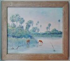 OIL CANVAS PAINTING FLORIDA EVERGLADES MARSH LANDSCAPE DEER SIGNED GIBBS FRAMED