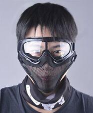OUTGEEK Airsoft Half Face Mask Steel Mesh Goggles Set Black Skull Kids Adult