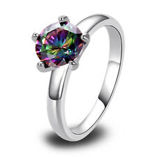 Amethyst Blue Pink Rainbow White Emerald Silver Ring Size 6 7 8 9 10 11 12 13