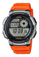 Casio AE1000W-4B Men's Orange Resin Band 5 Alarms Chronograph World Time Watch