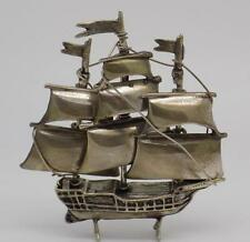 Vintage Solid Silver Sailing Ship Miniature - Stamped - Made in Italy