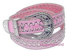 US SELLER PINK WOMENS WESTERN RHINESTONE BLING SNAP ON BUCKLE LEATHER BELT M SM