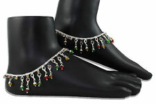 Pair of Designer Silver Tone Multi-Coloured Anklet / Payal Indian Bollywood