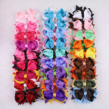 Lot 27pcs 4inch Hair Bow Clips Two Color Mixed Girls Hair Accessories 2784-K