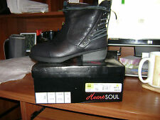 Heart Soul Lucena Womens Size 7.5 Black  Faux Leather Casual Boots - New In Box