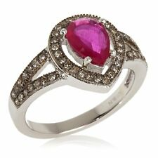 RARITIES CAROL BRODIE 1.55 CT RUBY CHAMPAGNE DIAMOND STERLING RING SIZE 5 HSN