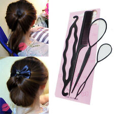 4Pcs/set Black Plastic Magic Tail Hair Braid Ponytail Styling Maker Clip Tool