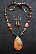 Standout Natural PICTURE PICASSO JASPER Gemstone Pendant Necklace Set