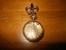 Vintage Fancy Elgin 14K Gold Brooch Pocket Watch 7J 1910's Made In The U.S.A.