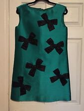 Kate Spade Emerald Green With Black Bows Gorgeous Party Dress