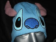 Cute NWT Blue Disney Lilo And Stitch Face Laplander Space Alien Beanie Ears Hat