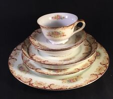 VINTAGE FINE CHINA NORITAKE JAPAN 6 PC PLACE SETTING FLORAL BURGANDY GOLD