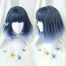 Wig Medium Long Straight Curly Blue Ombre Colors Hair Cosplay Costume Womens Wig