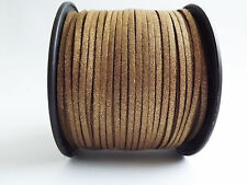 Faux Suede Cord, String, Thong 3mm x 1.5mm - Glossy Silver & Gold