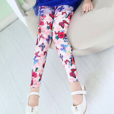 Toddler Kids Girl Leggings Pants Floral Prints Trousers Stretchy Jeggings 4-12Y