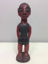 African Ivory Coast Baule Male Statue Hand Carved Painted