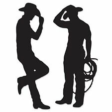 Pack of 2 Cowboy Silhouettes Decorations - 94cm Tall - Western Party Decoration