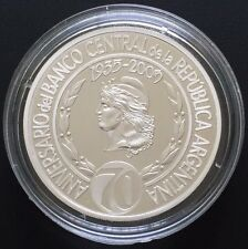 ARGENTINA SILVER COIN 1 Peso 70 Anniversary Banco Central (2005) PROOF ,SOLD OUT