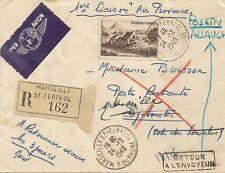 LETTRE PAR AVION 1ere LIAISON AIR PROVENCE ALLAUCH POUR DJIBOUTI RECOMMANDE 1949