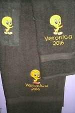 Tweety Bird Personalized 3 Piece Bath Towel Set  Any Color