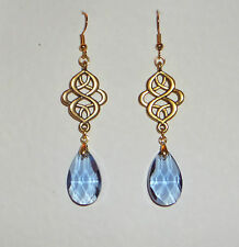 VICTORIAN PERSIAN STYLE BLUE FACETED GLASS GOLD PLATED EARRINGS
