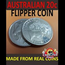 MAGIC FLIPPER COIN AUSTRALIAN 20 CENT MADE OF EXPANDED SHELL CLOSE UP COIN MAGIC