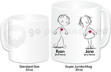 Personalised Jumbo Giant 20oz Mug- Red Hearts- Wedding, Valentine's Day Gift