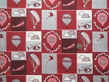 Head in the clouds montage red fabric fat quarter 50x56 cm FF160-3 100%Cotton