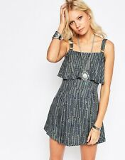 Free People Straps Paper Flower Double Layer Print Jersey Mini Dress  10 38