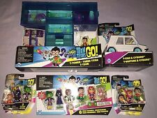 TEEN TITANS GO MINI FIGURE LOT includes T-TOWER & T-CAR + 12 FIGURES **NEW**