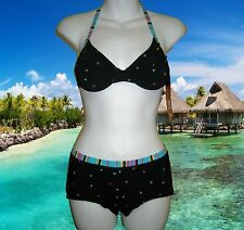 NWT GIDEON OBERSON by Gottex Black SWIMSUIT BIKINI with BOY SHORTS Set size - 8