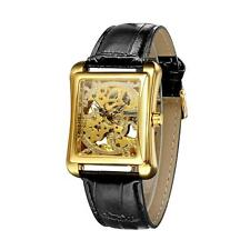 WINNER Mechanical Men's Watch Gift Wrist Skeleton Gold Rectangle Watches R1WU