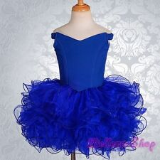 2pcs Girls Off-Shoulder Cupcake National Pageant Dress Shell Royal Blue 9-10 001