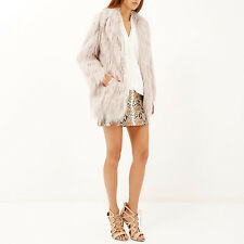 Gorgeous RIVER ISLAND Light Pink Faux Fur Shaggy Coat  SIZE 12 -NEW