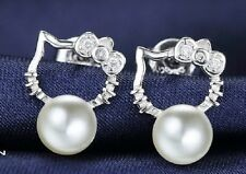 Silver tone kitty kitten cat and white pearl stud earrings with 925 silver backs